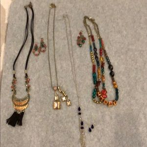 Various necklaces & earrings; all 4 sets together